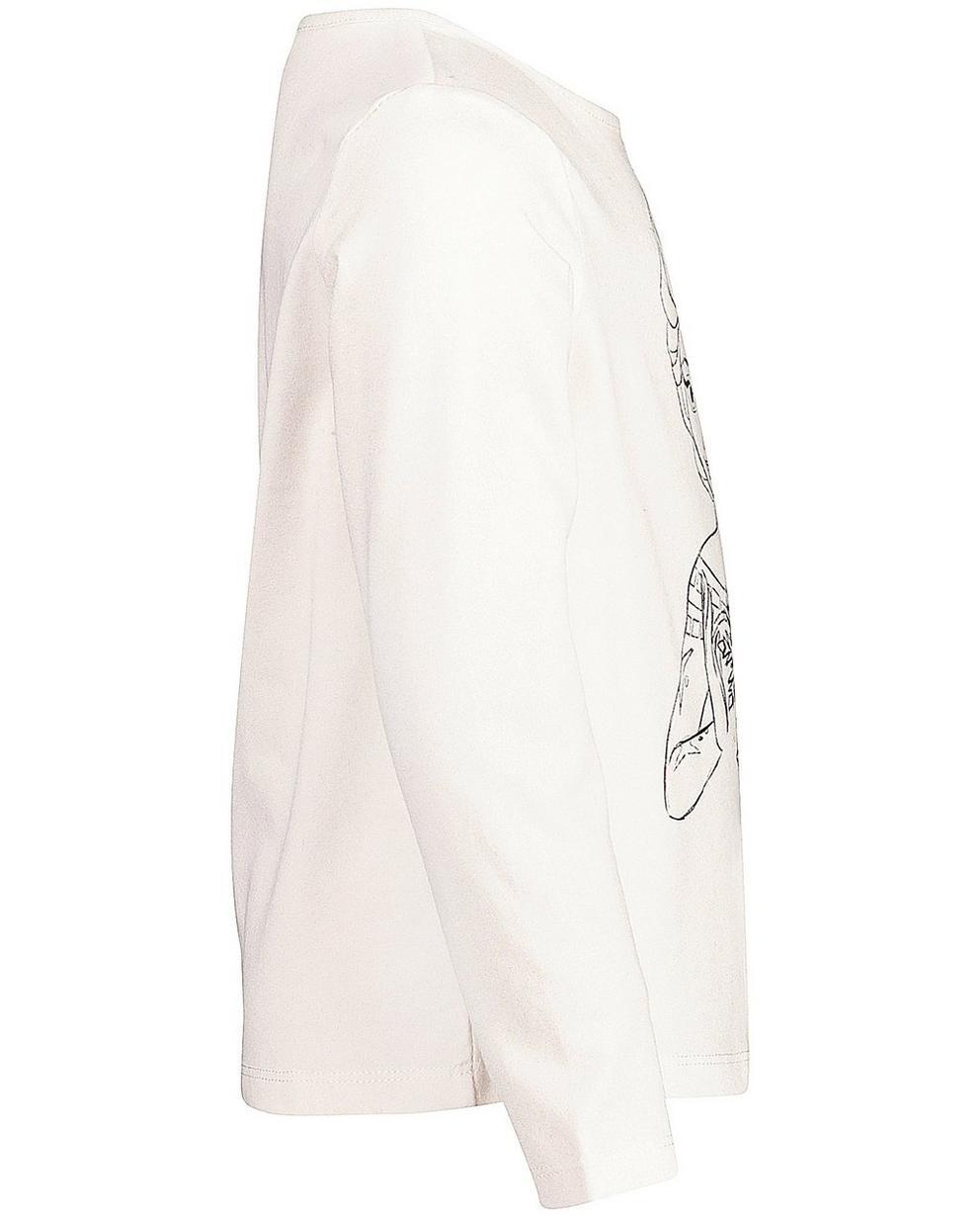 T-Shirts - Hellbeige - Longsleeve in gebrochenem Weiß
